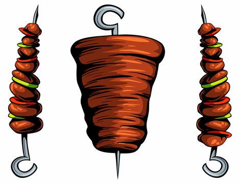 Isolated dinner kebab shawarma images. Design elements for logo, label, emblem, sign. Vector meat illustration.