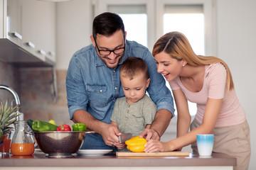Family preparing vegetables