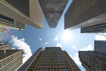 Corporate office buildings towers skyscrapers low angle