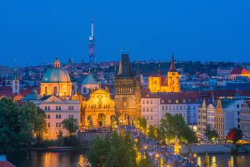 Wall Mural - Famous iconic image of Charles bridge and Praguecity skyline