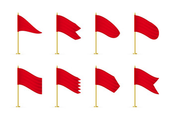 Vector empty realistic white advertising textile flags.
