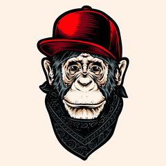 ape with caps vector