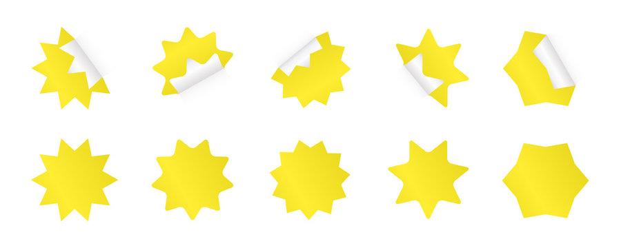 Set of sunburst sticker. Yellow starburst badges in different styles.