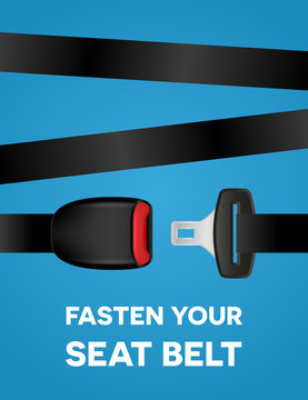 Fasten your seat belt - social typography poster. Safe trip - vector creative banner on blue background.