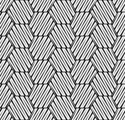 Vector seamless texture. Modern geometric background. Monochrome repeating pattern with hexagonal tiles.