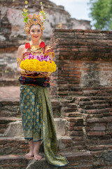 Beautiful Balinese women in traditional Sarong costumes culture of Indonesian people