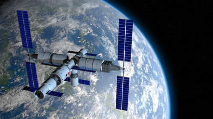 TIANGONG 3 - Chinese space station orbiting the planet Earth on black space with stars background. 3D Illustration