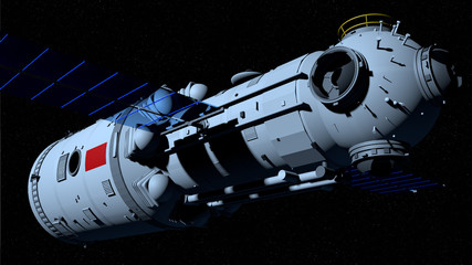 TIANHE core module of the TIANGONG 3 - Chinese space station flying on black space with stars background. 3D Illustration