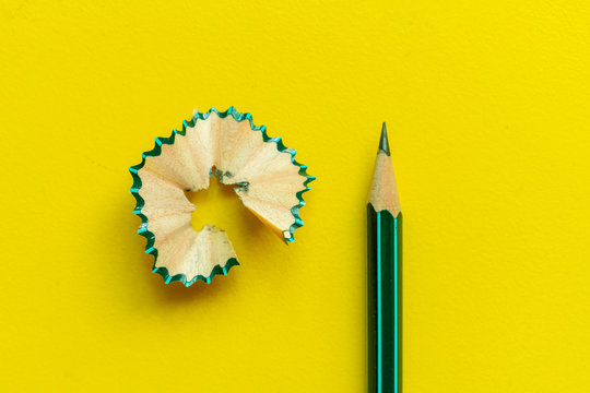 macro shot of pencil in a sharpener, minimalistic concept