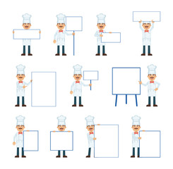 Big set of cook characters posing with different blank banners. Cheerful cook holding paper, poster, placard, pointing to whiteboard. Teach, advertise, promote. Flat vector illustration