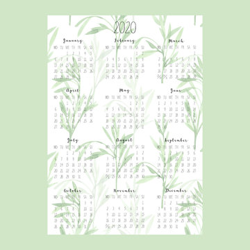 Vertical calendar 2020 with watercolor sprigs with leaves on white background, A4 format. Week begins from Monday. Perfect for banner, poster, card and printable