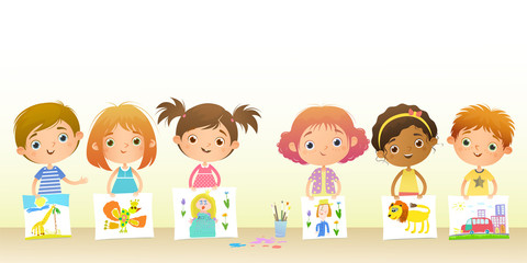 Horizontal light background for your text. Funny cartoon girls and boys stand and show their drawings.