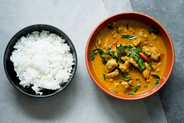 Chicken panang curry serve with steamed rice