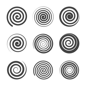 set of spiral abstract elements