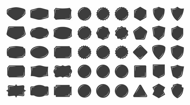 Set of vintage shape badge vector silhouette