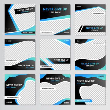 Collection of social media post sport design template