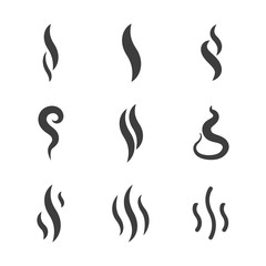 Aroma and smoke icons vector silhouettes