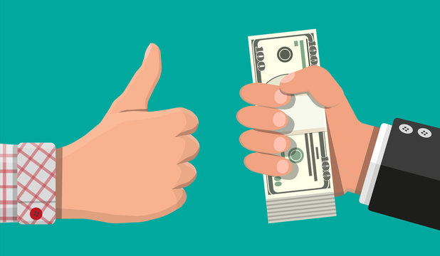 Stack of dollar banknotes in hand and thumb up. Concept of savings, donation, paying. Symbol of wealth. Vector illustration in flat style