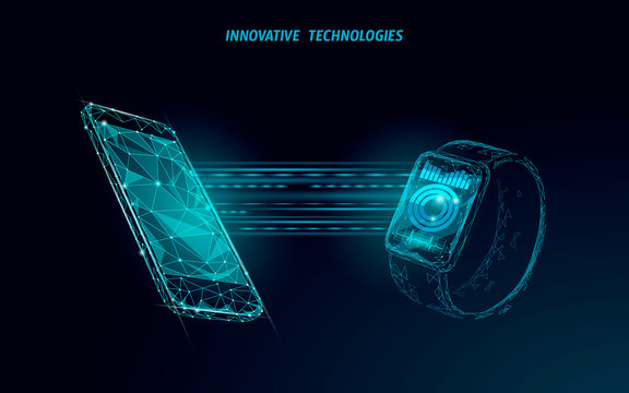 Smart watches touch screen modern technology concept. Low poly polygonal tracking app. Healthcare device network connection media graph. Wearable gadget mobile interface banner vector