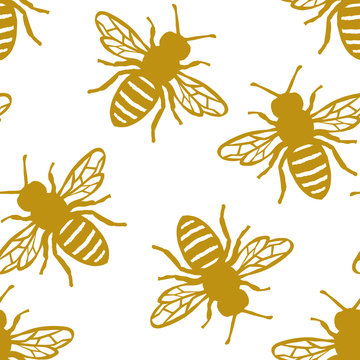 Seamless Honey Bee Pattern. Endless Background.