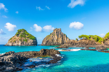 View of the Morro dos Dois Irmãos in Fernando de Noronha, a paradisiac tropical island off the coast of Brazil
