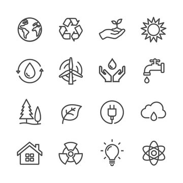 ecology and environmental protection line icons set