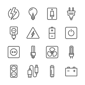 lights and electricity line icons set