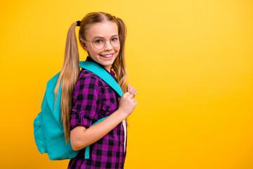 Profile photo of little lady return classroom wear specs new bag checkered shirt jeans denim...