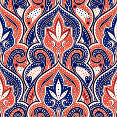 Indian paisley pattern vector seamless. Coral floral arabesque medallion motif print. Damask vintage flower ethnic ornament. Oriental design for wallpaper, curtain textile, rug, carpet, blanket.