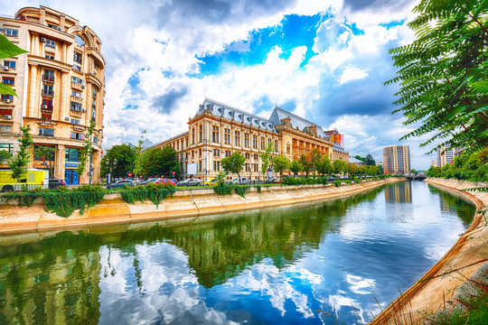 Antique building view in Old Town Bucharest city - capital of Romania and Dambrovita river