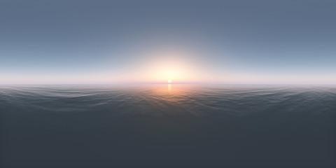360 Grad Panorama mit einem Sonnenuntergang im offenen Meer