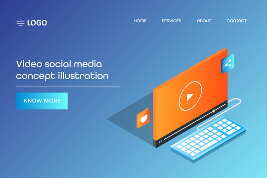 Isometric design concept of social media app and video marketing, business presentation, video advertising 3d style concept. Web page template with text.