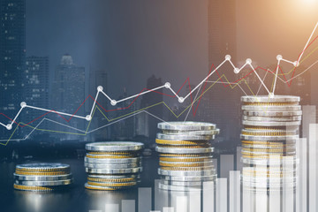 Stock market or forex trading graph and candlestick chart suitable for financial investment concept. Forex trading candlestick chart economic , ECN Digital economy.