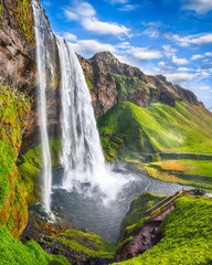 Printed roller blinds Waterfalls Fantastic Seljalandsfoss waterfall in Iceland during sunny day.