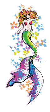 Beautiful mermaid illustration - colorful fantasy drawing