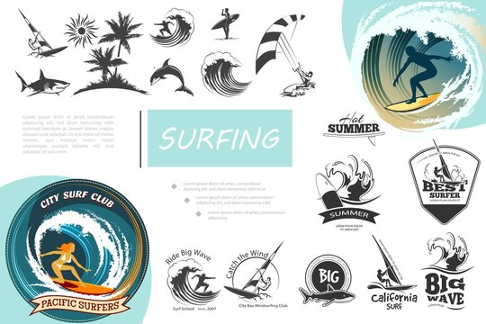 Vintage Surfing Elements Set
