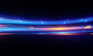 Glow effect. Ribbon glint. Curved lines. Power energy. LED glare tape. Shining neon cosmic streaks. Magic design round whirl. Swirl trail effect. Smooth wave.  Gentle arc. Light flow.  Sci fi tech Fotoväggar