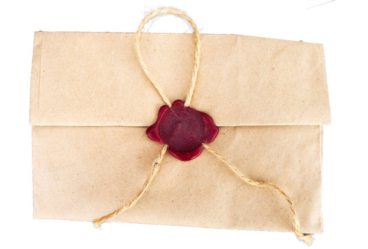 Retro envelope sealed with a secret seal on a white background.