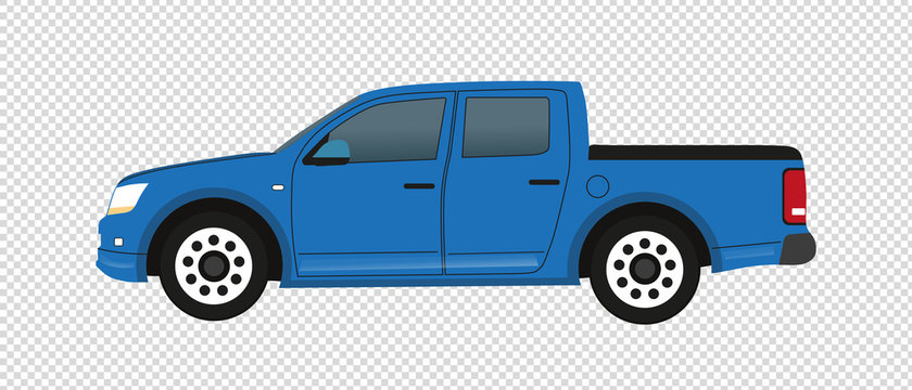 Blue Pickup Truck - Vector Illustration - Isolated On Transparent Background