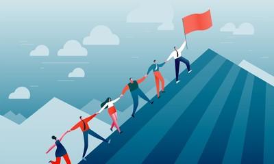 People climb the mountain. Success, business, career, teamwork, leadership Wall mural