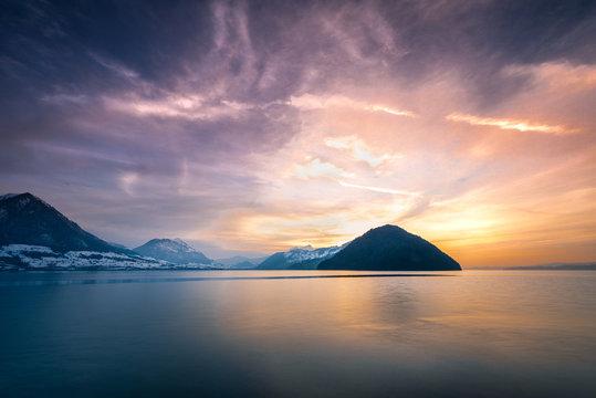 Mountain and lake sunset, Vitznau, Lucerne, Switzerland