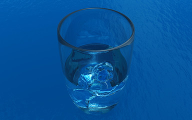 Glass with the water made in 3D Render