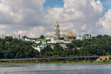 Kyiv cityscape with with Kiev Pechersk Lavra monastery, Ukraine. Kiev Pechersk Lavra or the Kiev Monastery of the Caves.