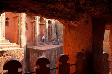 Foto auf AluDibond Braun Iglesias de Lalibela, Lalibela, Etiopia, Africa