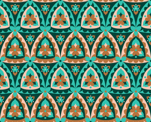 East ornament. Seamless pattern. Triangular and floral motifs. Limited palette. Islamic, arabic, indian, persian motif.