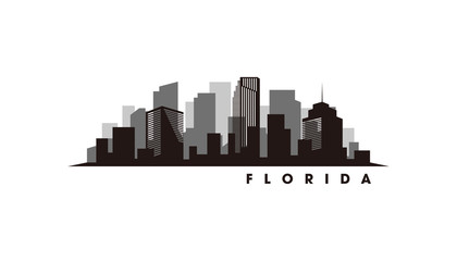 Wall Mural - Florida skyline and landmarks silhouette vector
