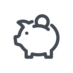 Piggy bank bold line icon.