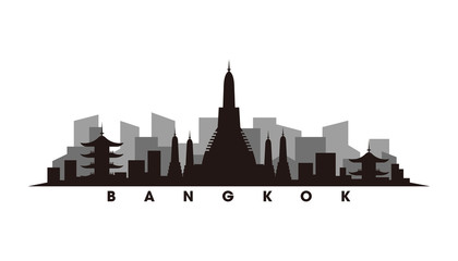 Wall Mural - Bangkok skyline and landmarks silhouette vector