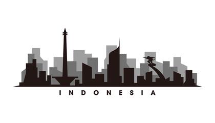 Fototapete - Jakarta skyline and landmarks silhouette vector