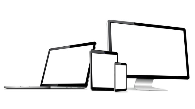 Responsive web design computer display with laptop and tablet pc with mobile phone isolated